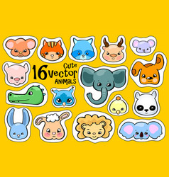 Colorful animal face stickers cute animal clipart vector