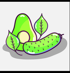 Delicious and healthy organic fruit and vegetable vector