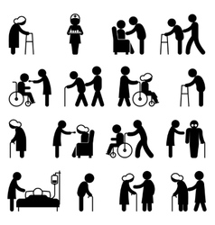 Disability people nursing and disabled health care vector