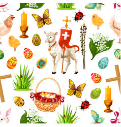 easter seamless pattern paschal symbols vector image