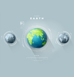 Eastern earth hemisphere with scale vector