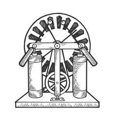 electrostatic generator sketch engraving vector image