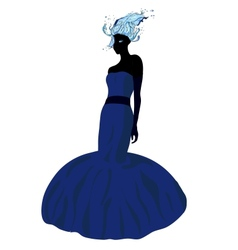 Elegant girl in fluttering blue dress vector image