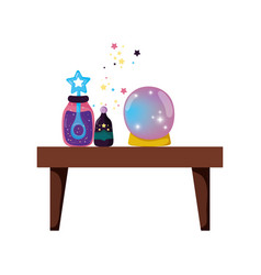fairytale crystal ball with potion bottles vector image