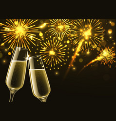 fireworks and champagne glasses sparkling wine vector image
