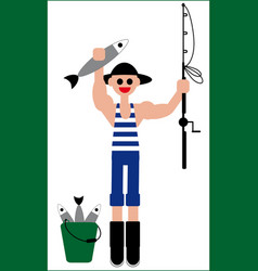 Fishermans catch fishing vector