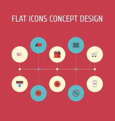 flat icons percentage present bus and other vector image