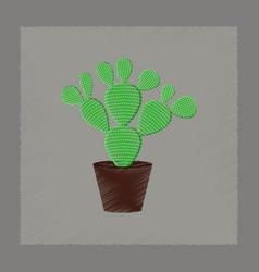 flat shading style plant opuntia vector image