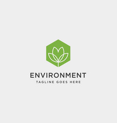 Flower agriculture environment simple line logo vector