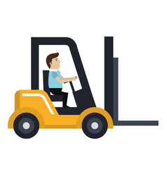 forklift vehicle with driver vector image