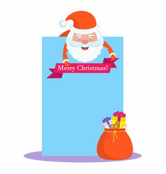 funny happy santa claus character with blank sheet vector image