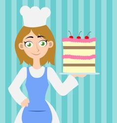 Girl holding a cake vector