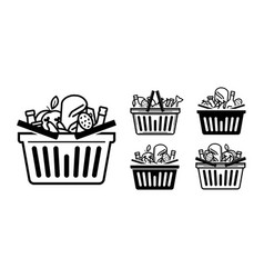 Grocery store icon shopping cart or basket full vector