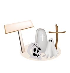 Halloween Items with Wooden Placard vector