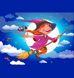 halloween witch flies on a broomstick vector image