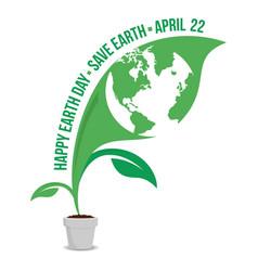 Happy earth day logo design vector