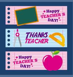 Happy teacher day card thanks greeting decoration vector