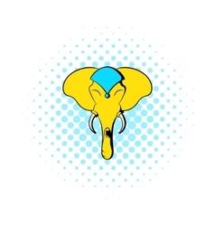 head elephant icon comics style vector image
