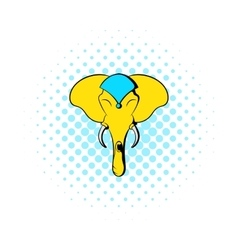 Head of elephant icon comics style vector