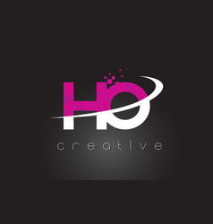 Ho h o creative letters design with white pink vector