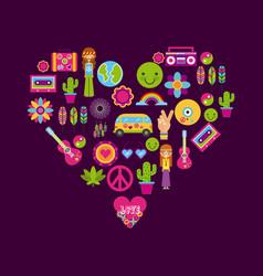 icons set hippie scenery cartoon vector image