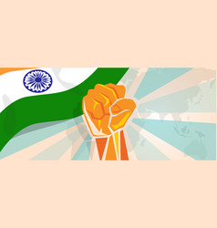 India fight and protest independence struggle vector