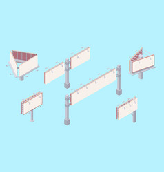 Isometric billboard set with blank canvas for vector