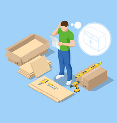 Isometric man does assembly furniture vector