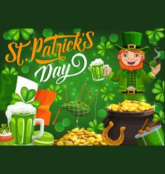 leprechaun celebrating saint patricks day vector image