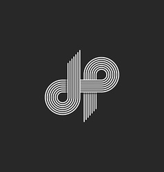Logo DP letter monogram offset thin line style vector image