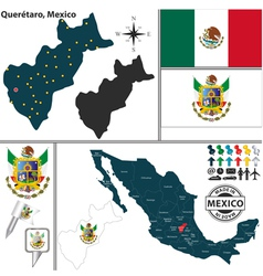 Map of Queretaro vector image