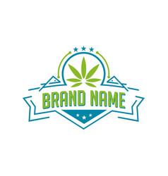 marijuana emblem logo vector image
