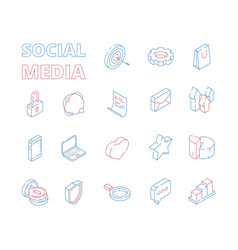marketing isometric icon web social media network vector image
