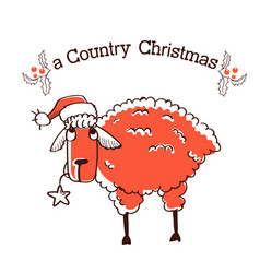 Merry country christmas card with farm sheep in vector