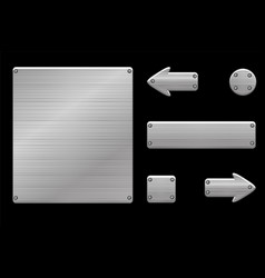metallic gray user interface and game buttons vector image