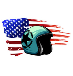 motorcycle helmet with american flag vector image