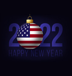 new year 2022 with usa flag ball with lettering vector image