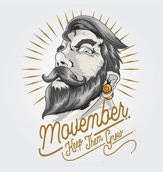 november day beard and mustache vector image