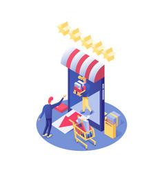 Online shopping isometric e vector