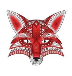 patterned stylized silhouette head fox vector image