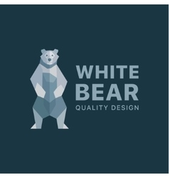 polar bear background flat polygons low poly vector image