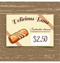 Price Tag Design Ciabatta Bread vector