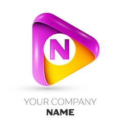 Realistic letter n symbol in colorful triangle vector