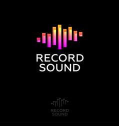 recording sound studio logo music emblem vector image