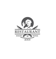 restaurant label with knives and chef vector image