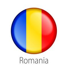 romania round button flag vector image