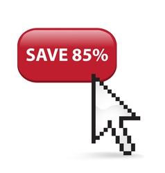 Save 85 Button Click vector