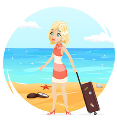sea beach background cute girl suitcase cartoon vector image