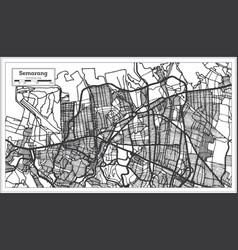 Semarang indonesia city map in black and white vector