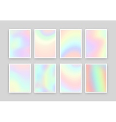 Set 8 realistic holographic backgrounds in vector